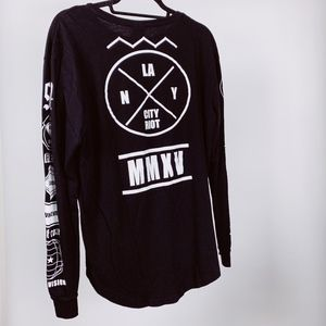 H&M Divided Black Graphic Long Sleeve T-shirt